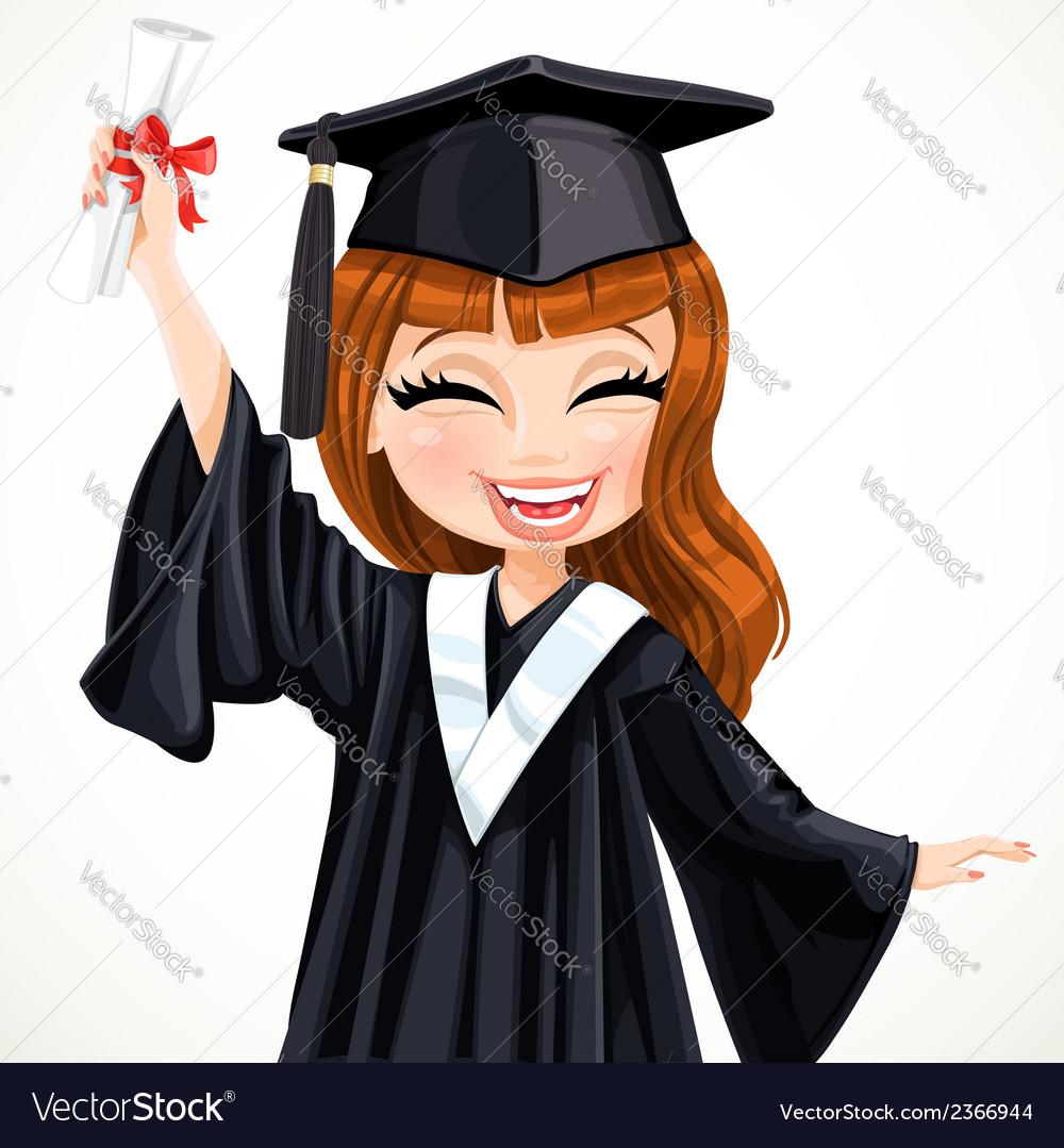 Diploma graduating happy girl vector | Price: 3 Credit (USD $3)