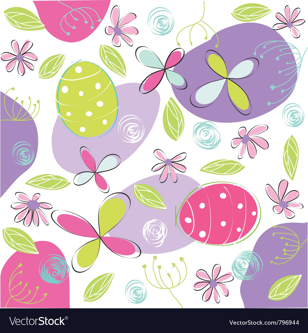 Floral easter card vector | Price: 1 Credit (USD $1)