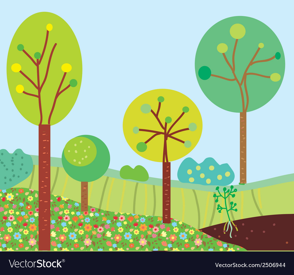 Funny garden landscape with trees vector | Price: 1 Credit (USD $1)