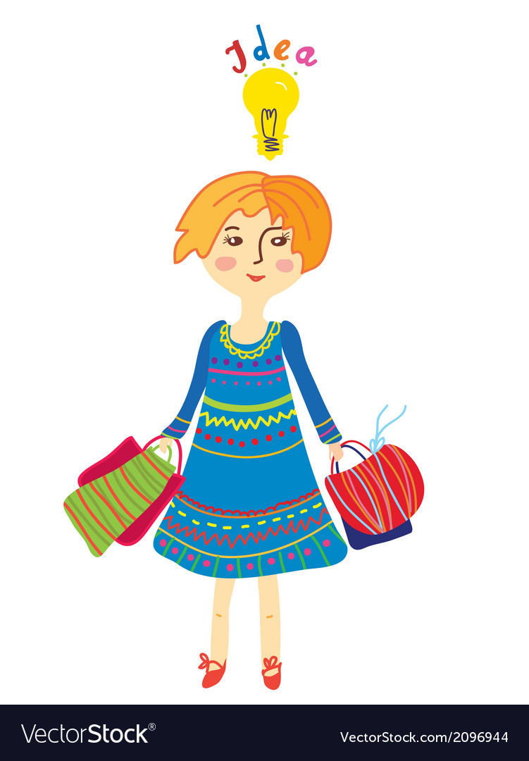 Girl shopping with idea light bulb vector   Price: 1 Credit (USD $1)