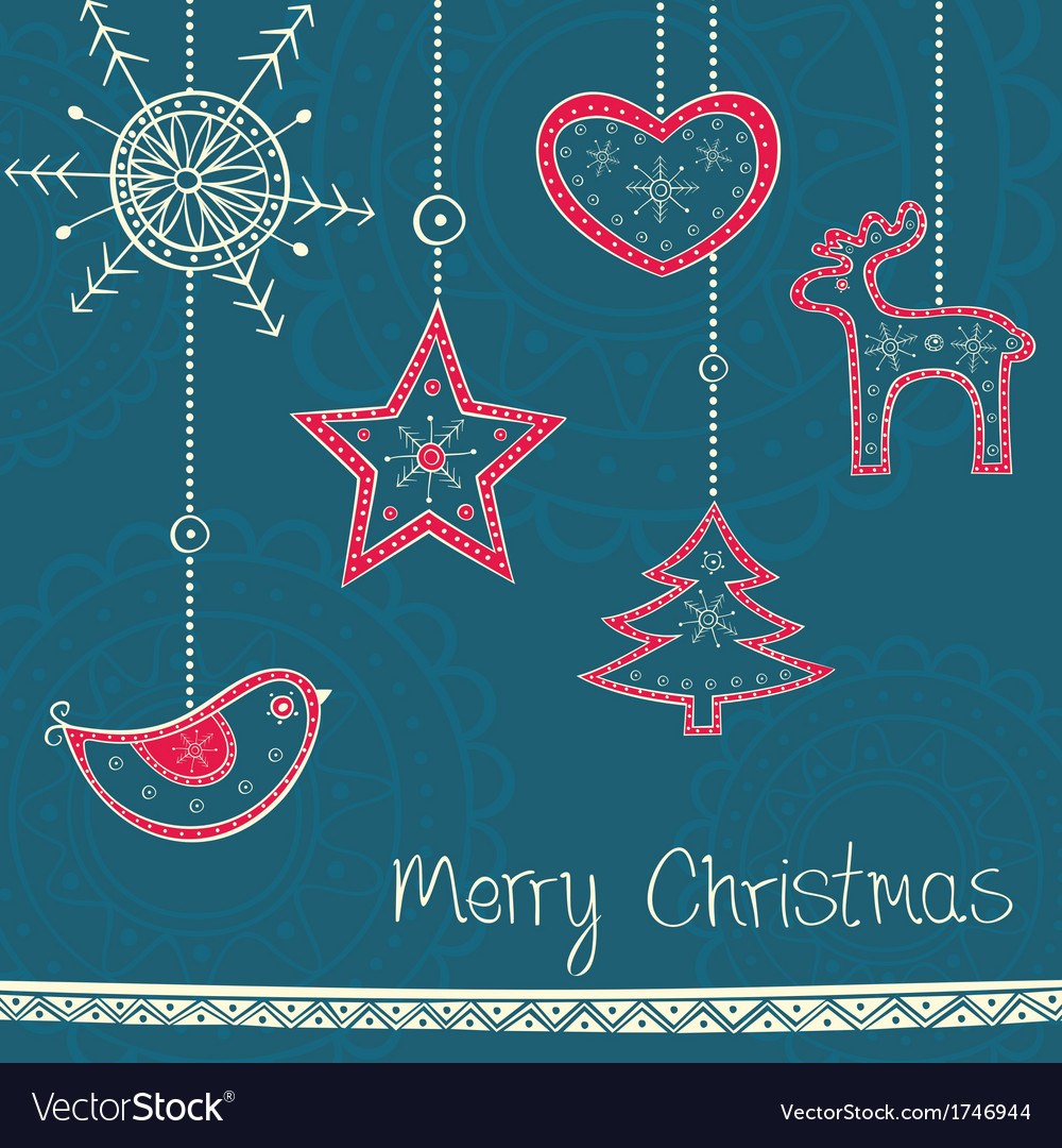 Greeting card with christmas tree decoration on vector | Price: 1 Credit (USD $1)