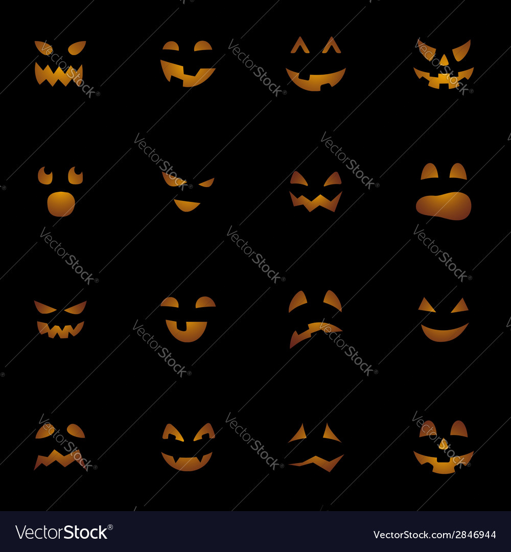 Halloween pumpkins faces on black background vector | Price: 1 Credit (USD $1)