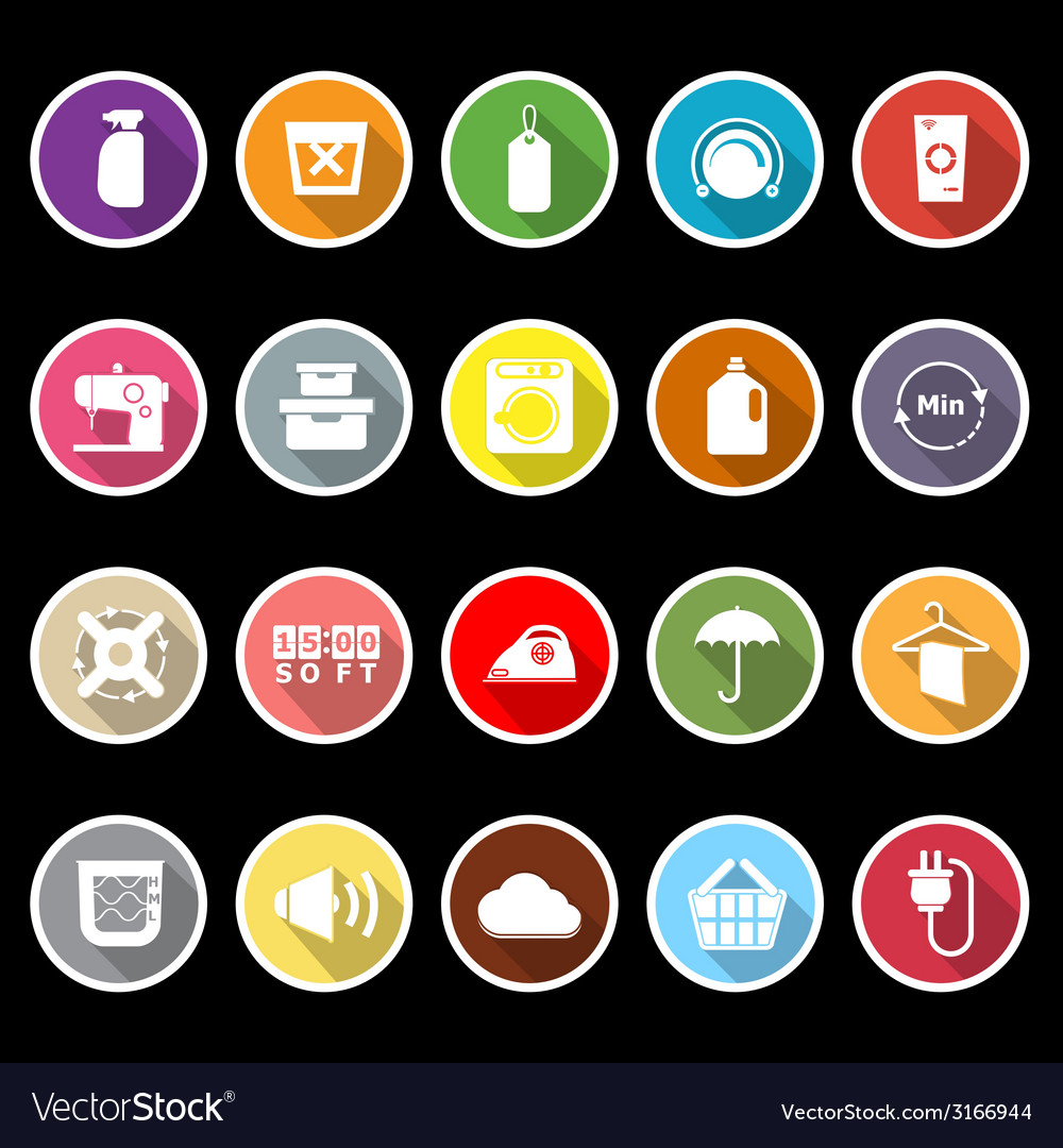 Laundry flat icons with long shadow vector | Price: 1 Credit (USD $1)