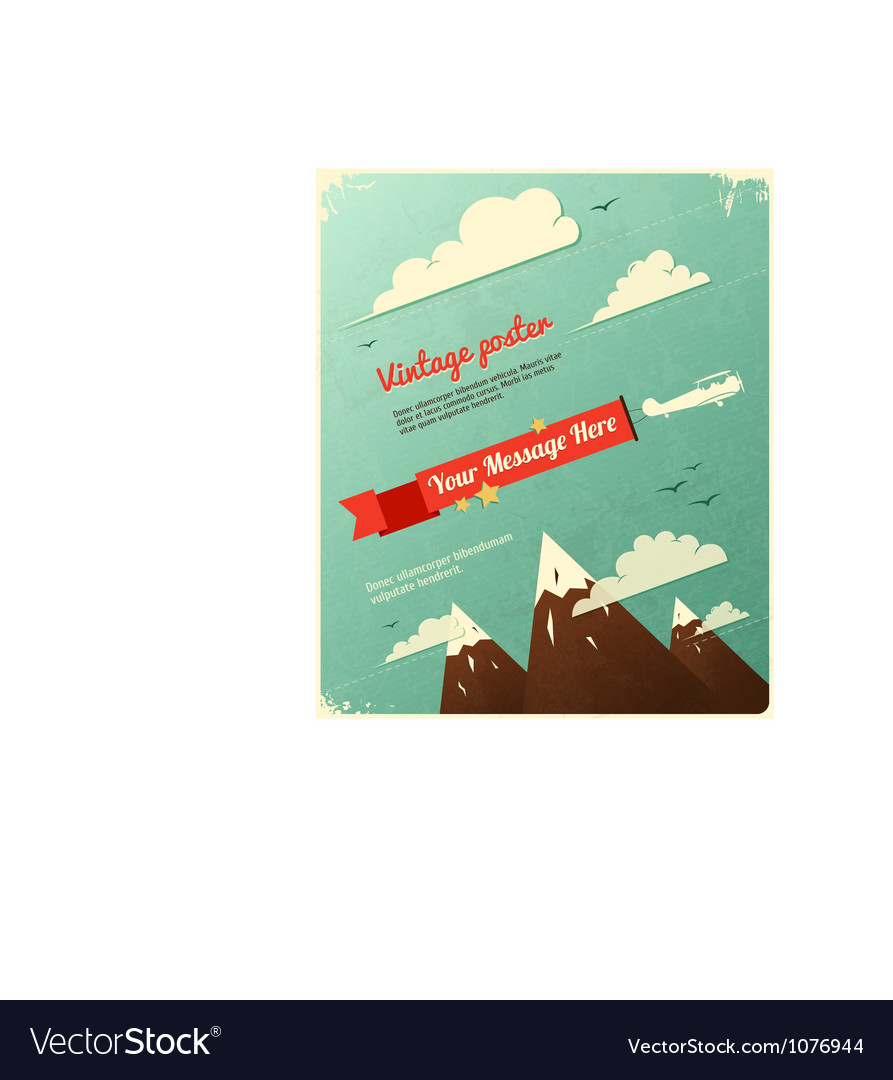 Retro poster design with clouds vector | Price: 1 Credit (USD $1)