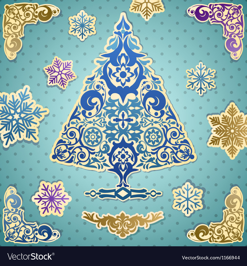 Scrapbooking card with stylized christmas tree vector | Price: 1 Credit (USD $1)