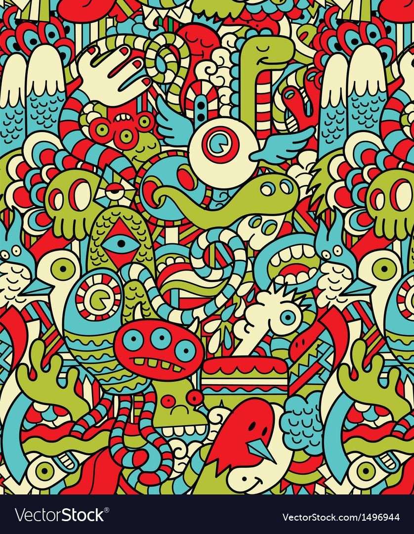 Seamless hipster doodle monster collage pattern vector | Price: 3 Credit (USD $3)
