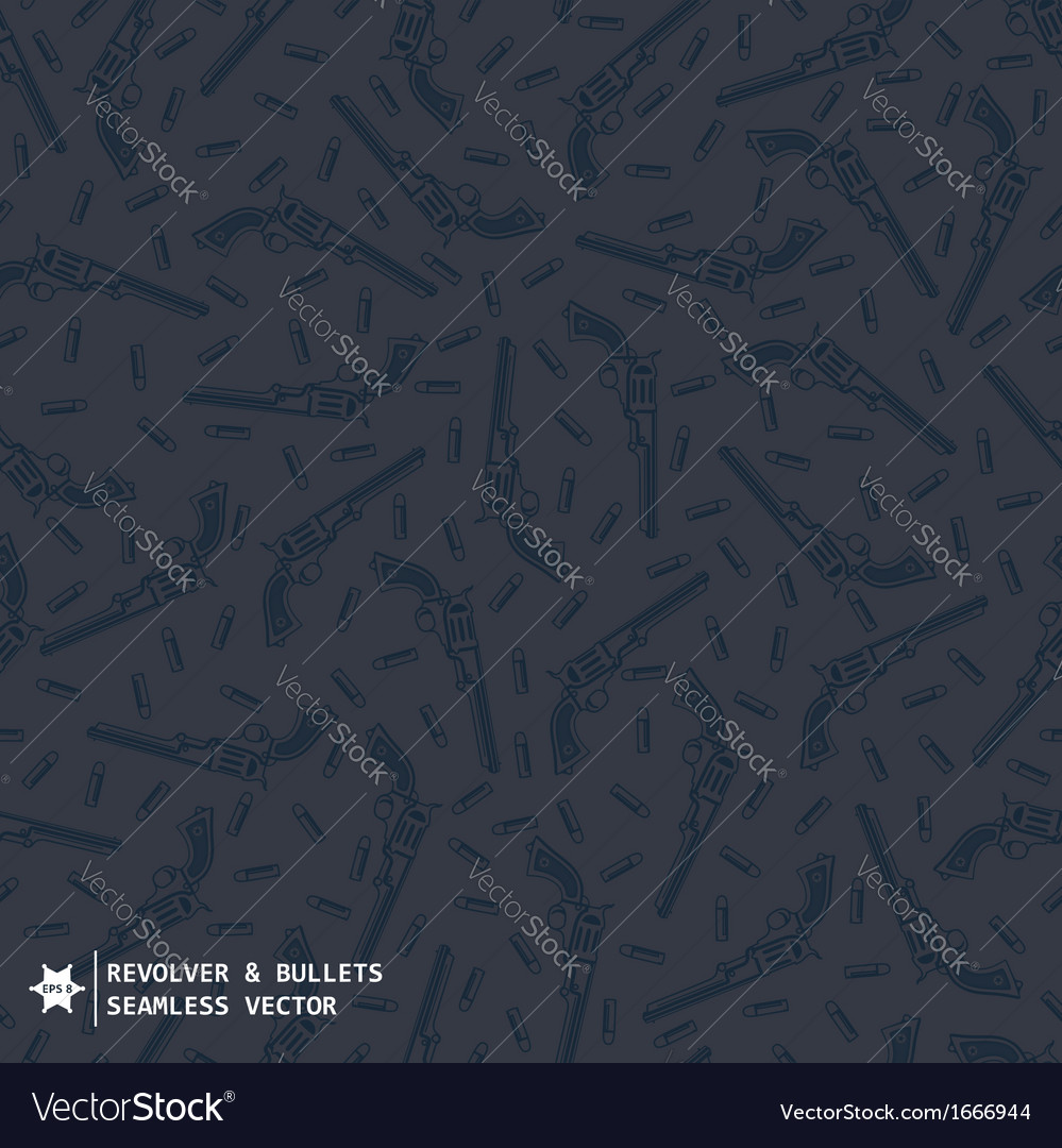 Seamless pattern in western style with guns vector