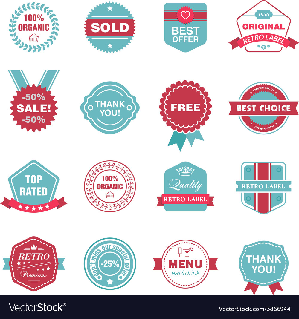 Set of retro labels stickers badges vector | Price: 1 Credit (USD $1)