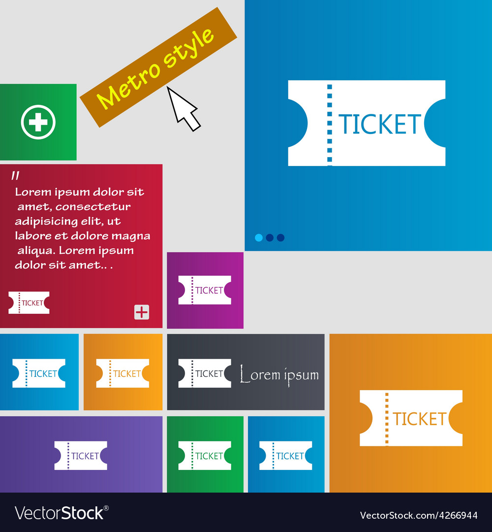 Ticket icon sign metro style buttons modern vector | Price: 1 Credit (USD $1)