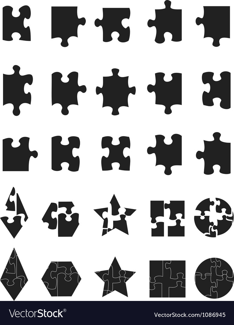Black jigsaw puzzle pieces icon vector | Price: 1 Credit (USD $1)