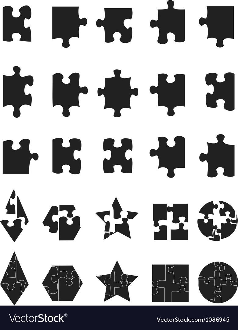 Black jigsaw puzzle pieces icon vector | Price: 1 Credit (USD $1)