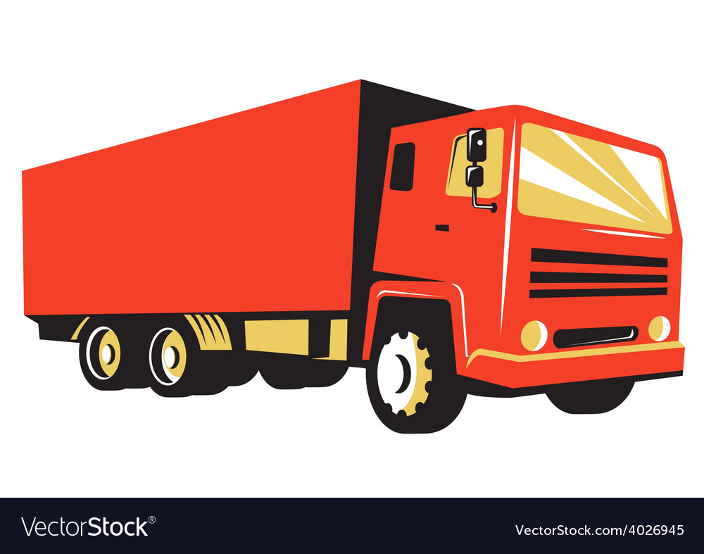Closed delivery van truck retro vector