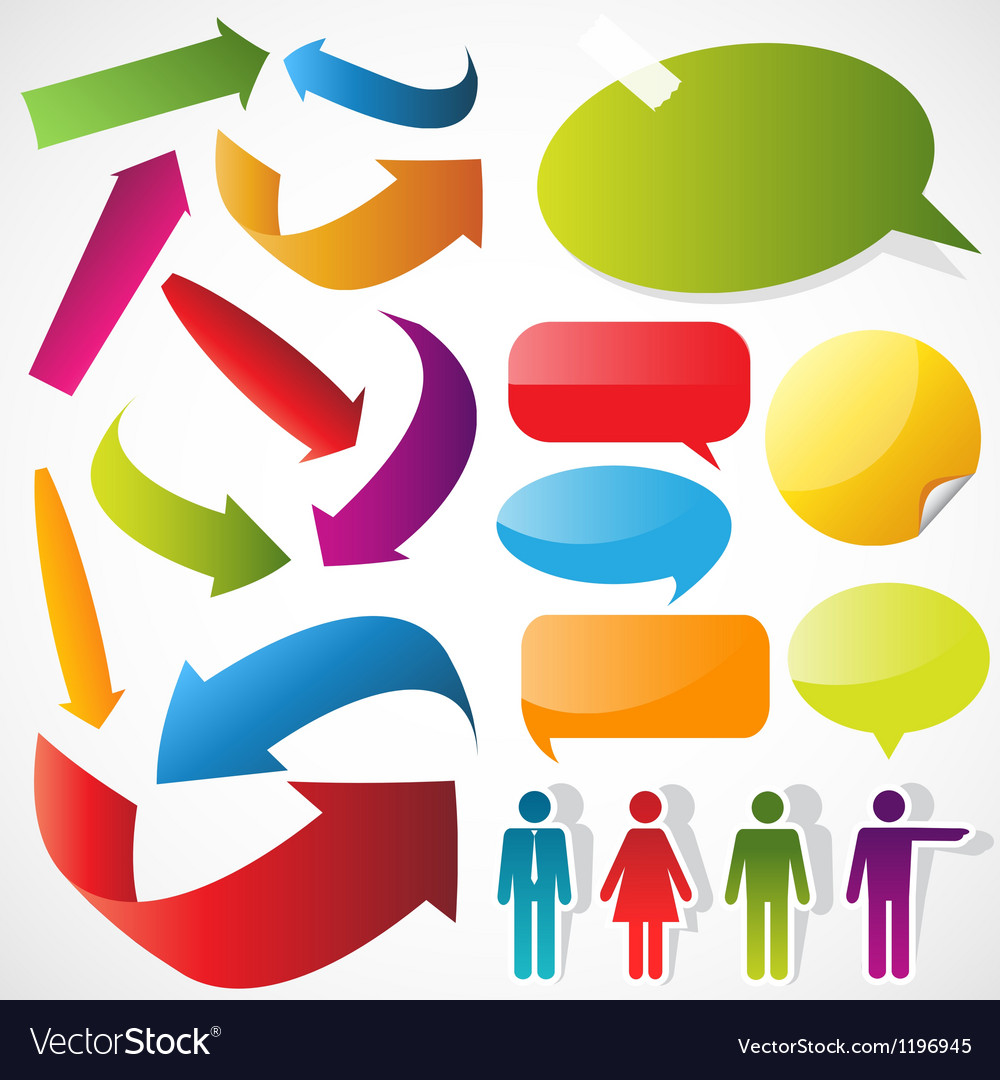 Color arrows speech bubbles and people icons vector | Price: 1 Credit (USD $1)