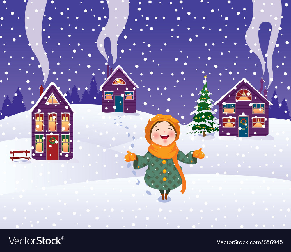 Girl enjoys the snow vector | Price: 1 Credit (USD $1)
