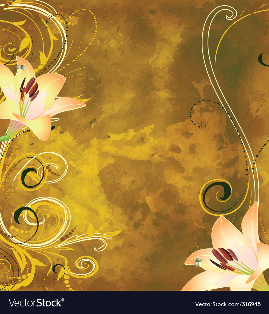 Grunge floral background with lilies vector | Price: 1 Credit (USD $1)