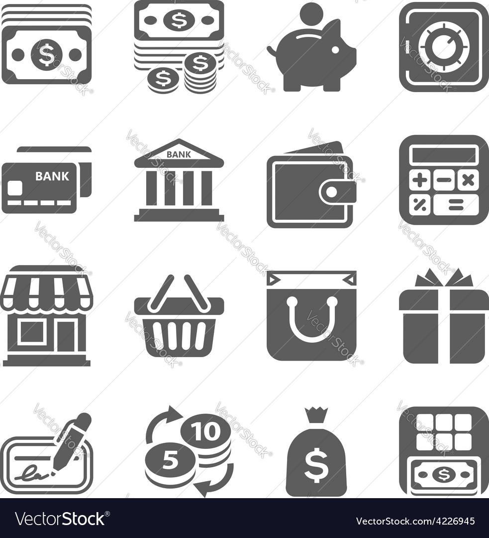 Money finance shopping icons vector