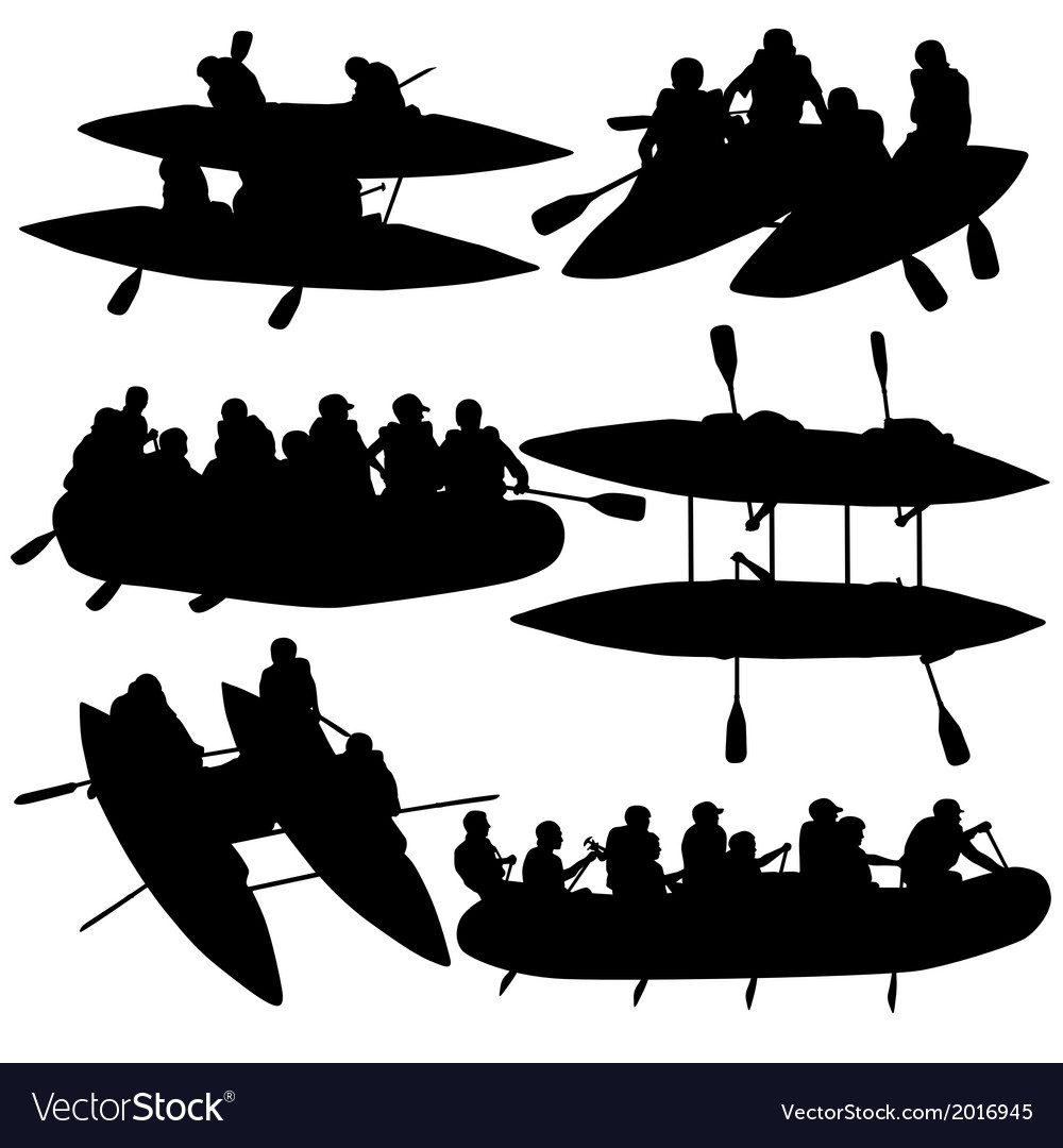 Silhouette collection people rafters on boats vector | Price: 1 Credit (USD $1)