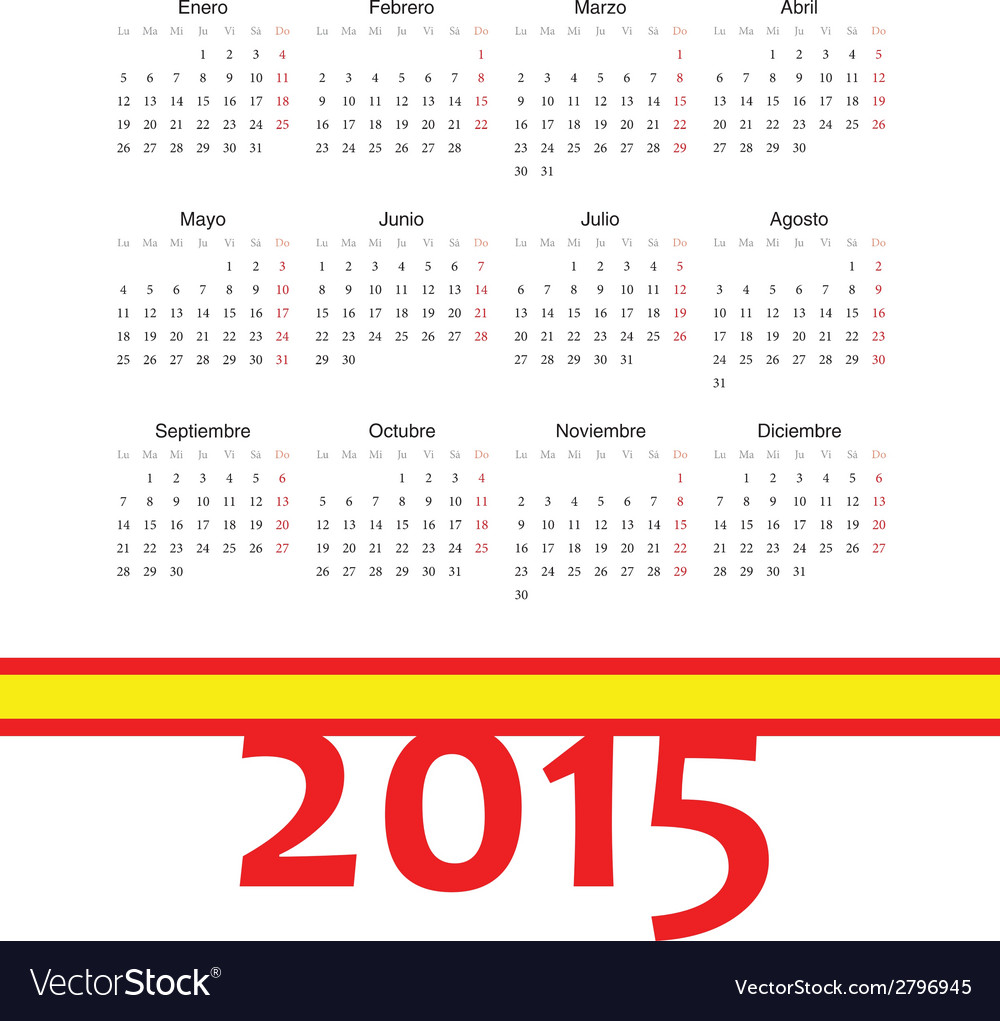 Simple spainish 2015 year calendar vector | Price: 1 Credit (USD $1)