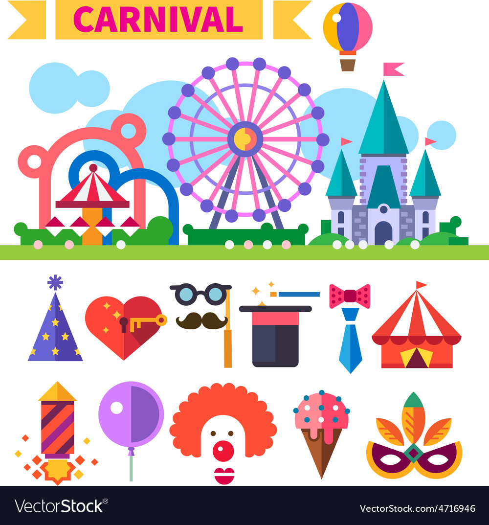 Carnival in amusement park vector | Price: 3 Credit (USD $3)
