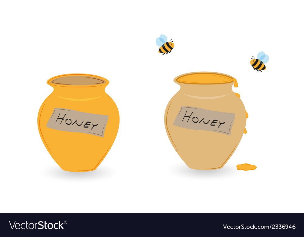 Cup of honey and flying bee vector | Price: 1 Credit (USD $1)