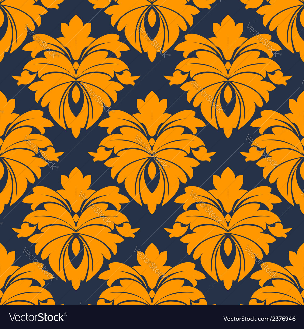 Damask seamless pattern in blue and orange vector | Price: 1 Credit (USD $1)