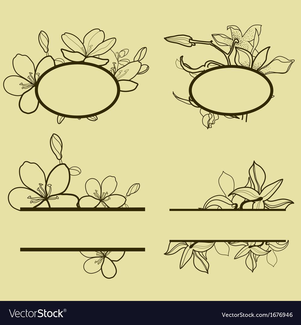 New flower set frame vector | Price: 1 Credit (USD $1)