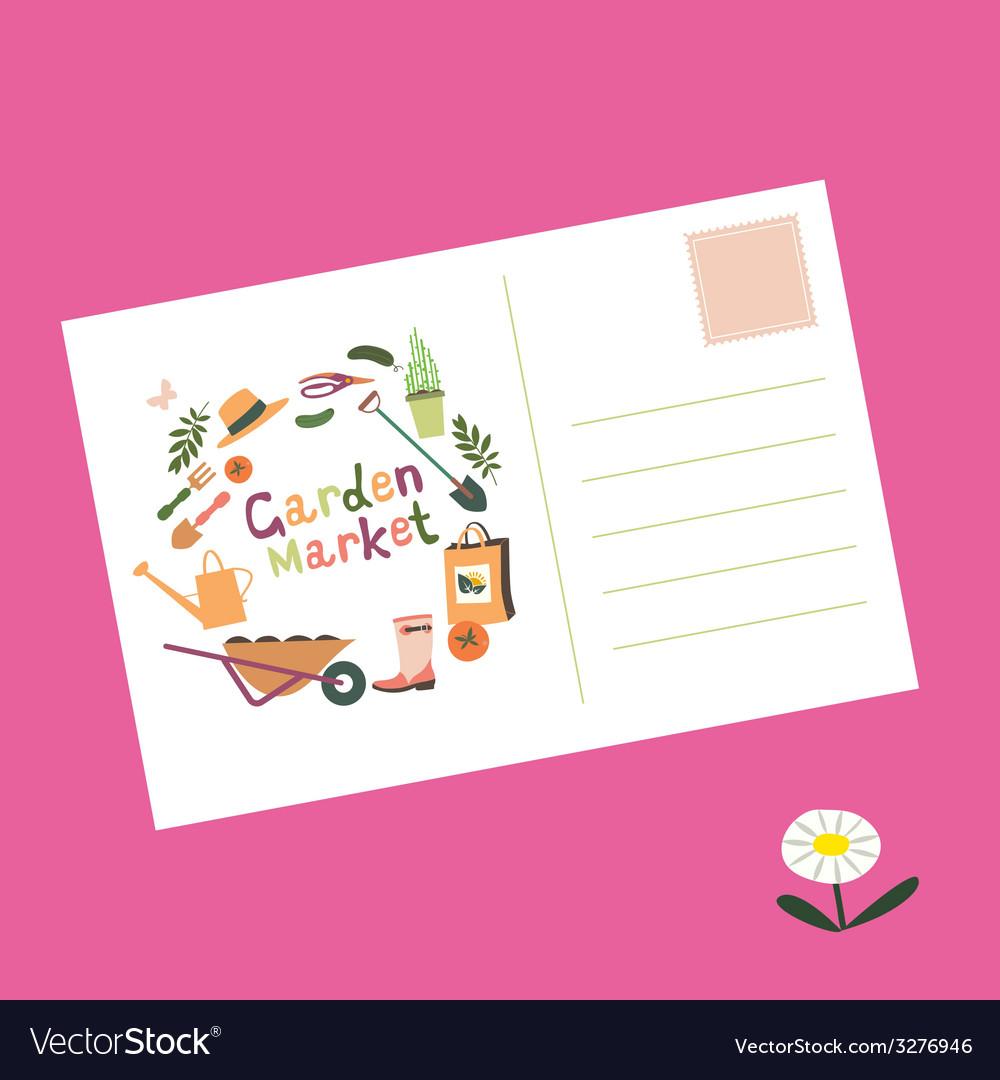 Post card garden market invitation vector | Price: 1 Credit (USD $1)