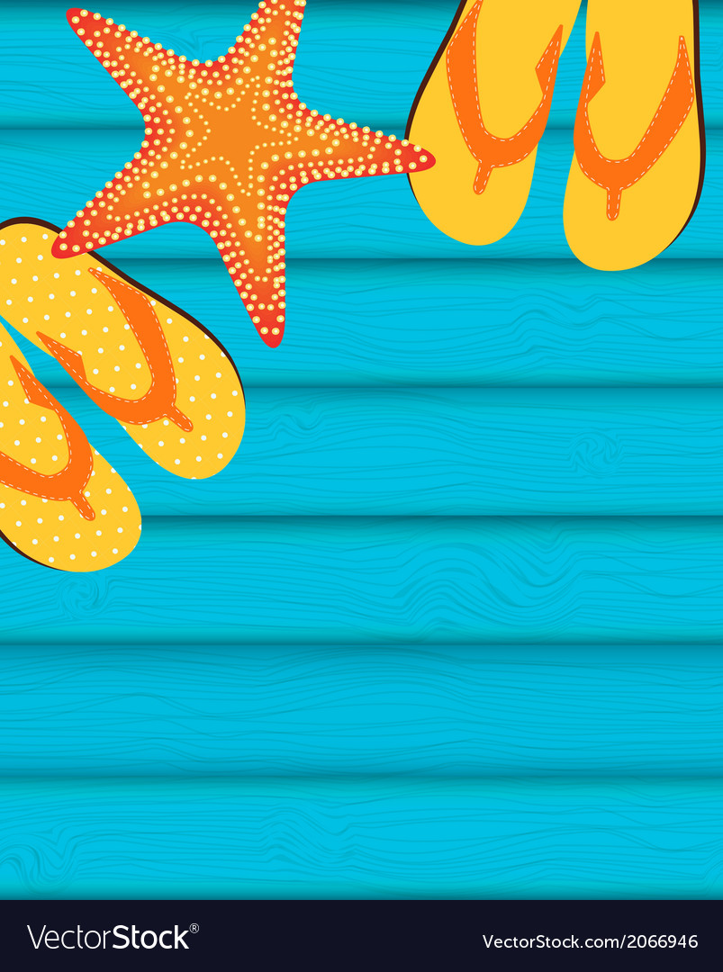Sandals and starfish summer background vector | Price: 1 Credit (USD $1)