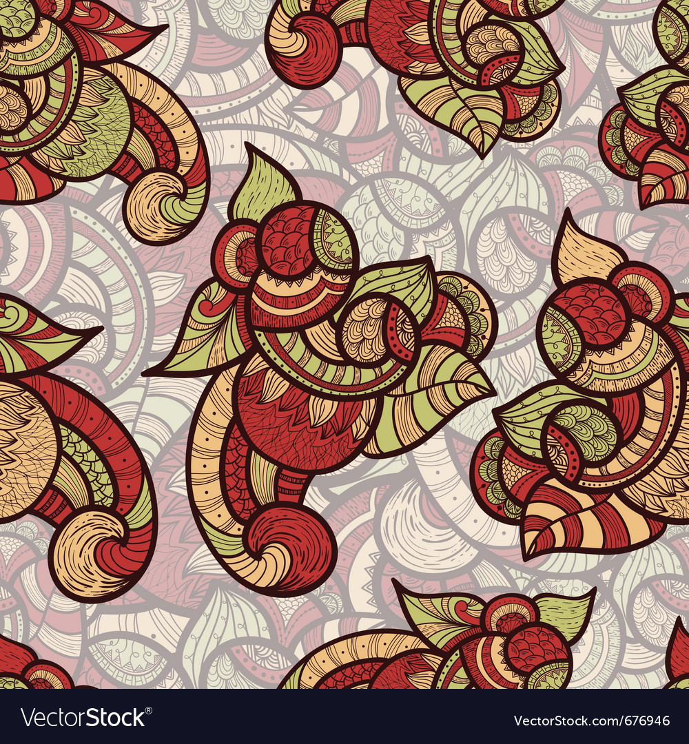 Seamless ethnic doodle vector | Price: 1 Credit (USD $1)