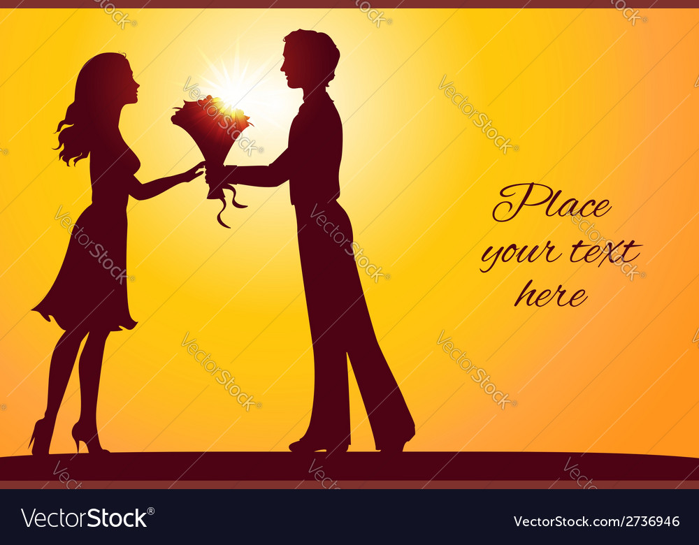 Sunset silhouettes of man and woman vector | Price: 1 Credit (USD $1)