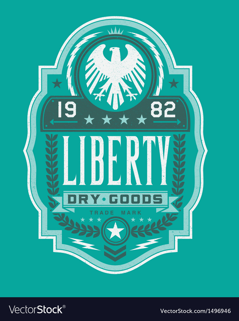 Vintage americana style liberty label vector | Price: 1 Credit (USD $1)