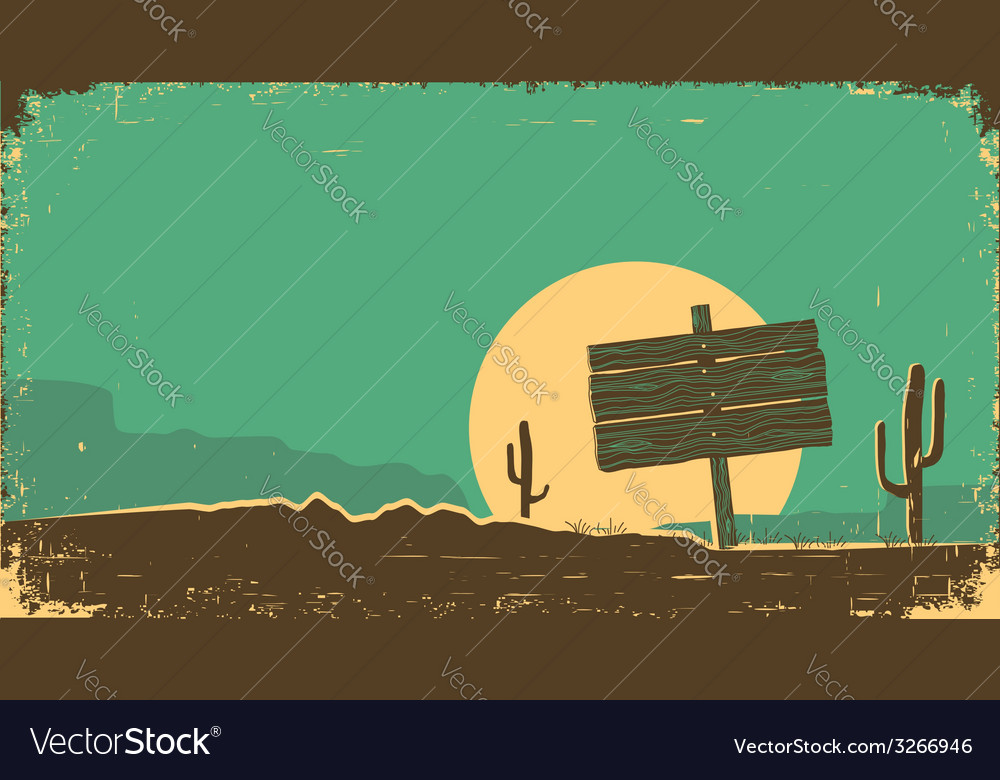 Western of desert landscape on old paper texture vector | Price: 1 Credit (USD $1)