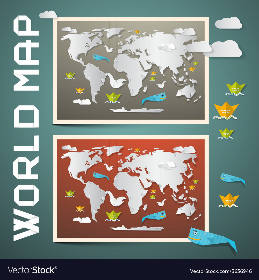 World maps - paper set vector | Price: 1 Credit (USD $1)