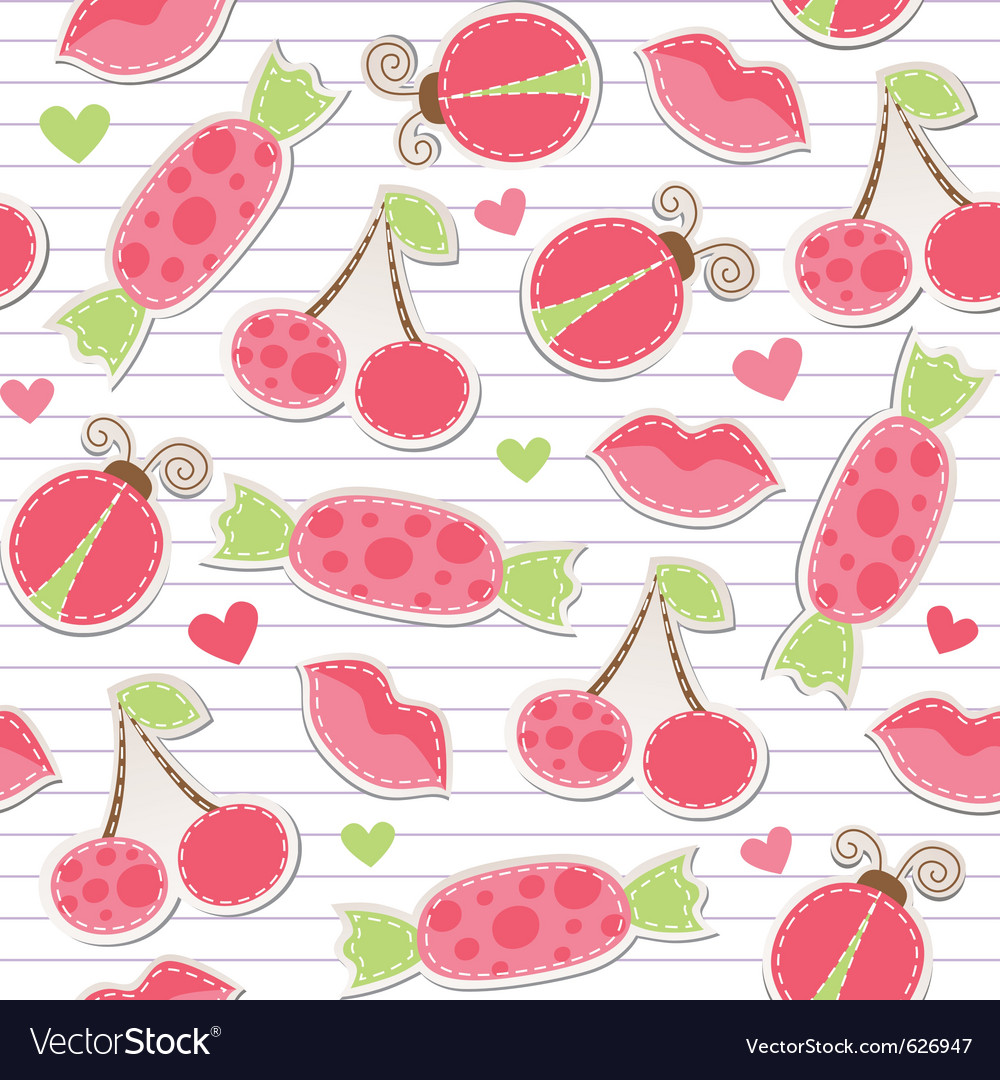 Cute pink seamless pattern vector | Price: 1 Credit (USD $1)