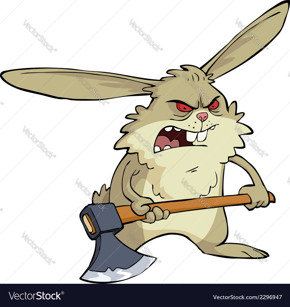 Evil bunny with an ax vector | Price: 1 Credit (USD $1)