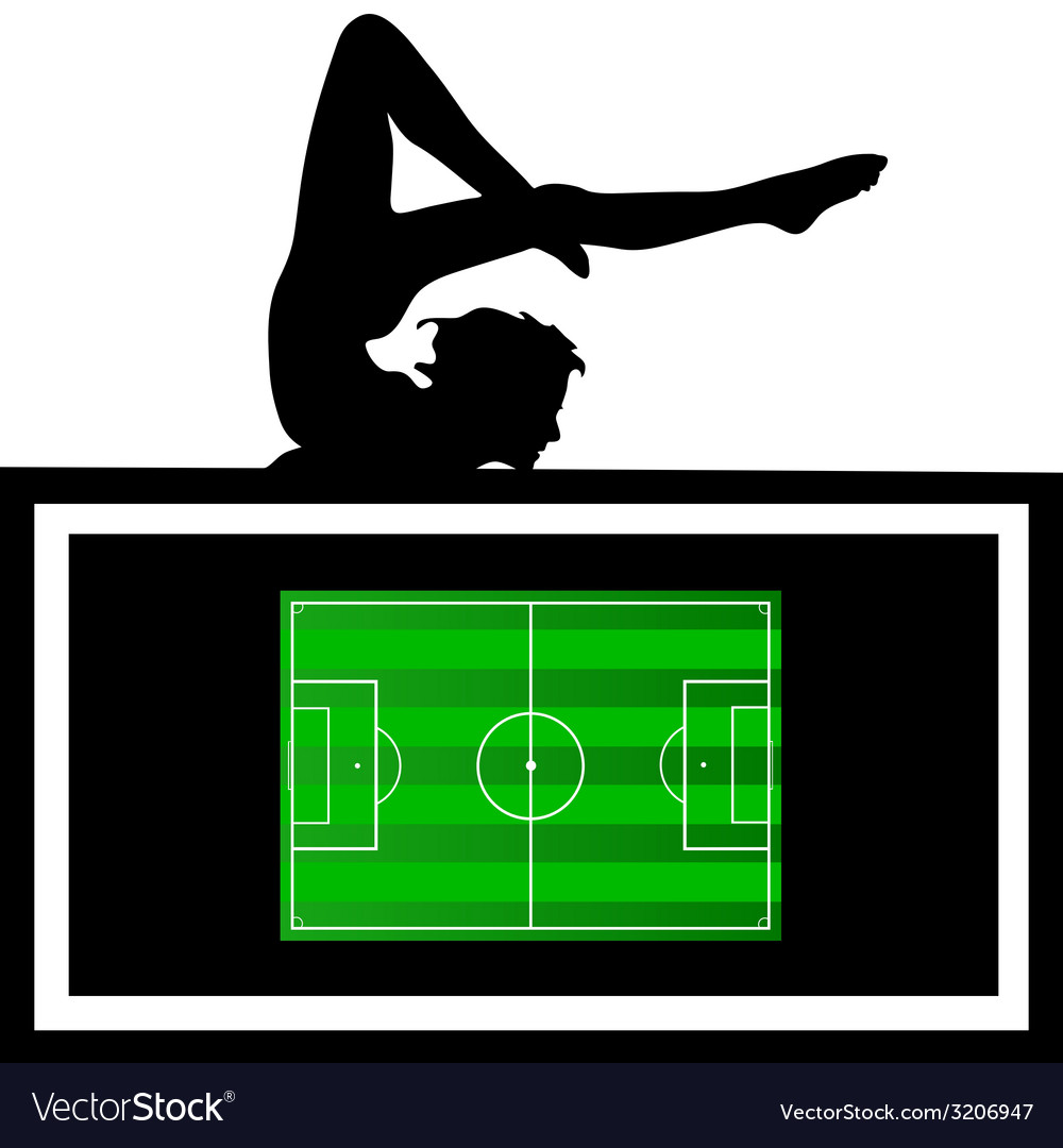 Girl with football court vector | Price: 1 Credit (USD $1)