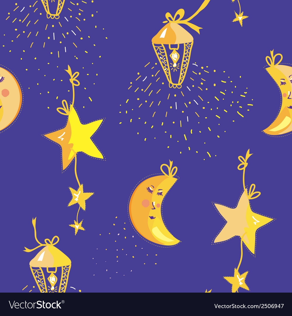 Night pattern with moon stars seamless vector | Price: 1 Credit (USD $1)