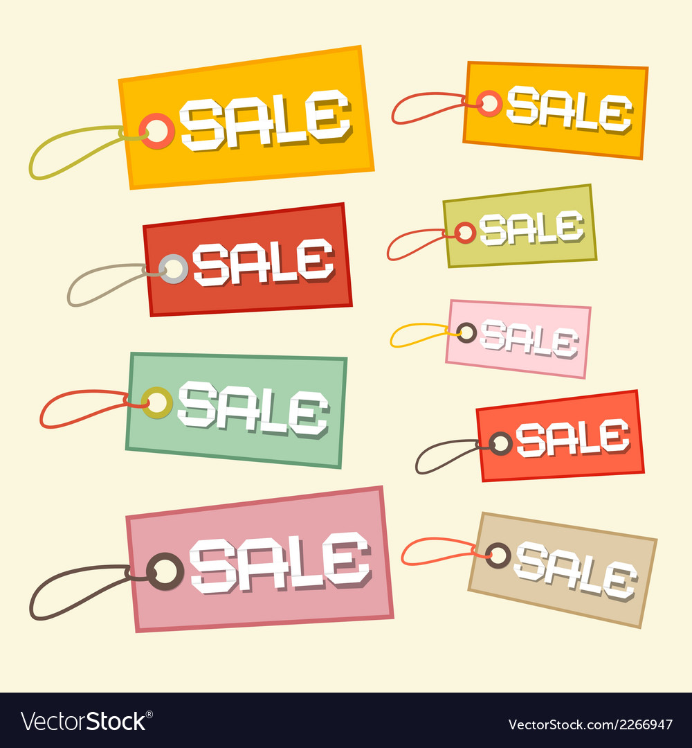 Retro paper sale tags labels vector | Price: 1 Credit (USD $1)