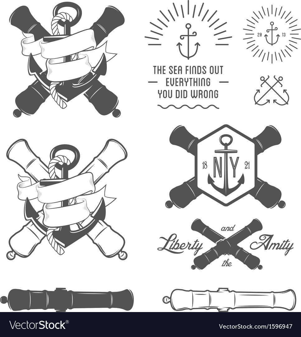 Set of vintage nautical labels and design elements vector | Price: 1 Credit (USD $1)