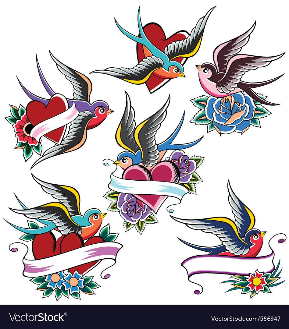 Swallow tattoo set vector | Price: 1 Credit (USD $1)