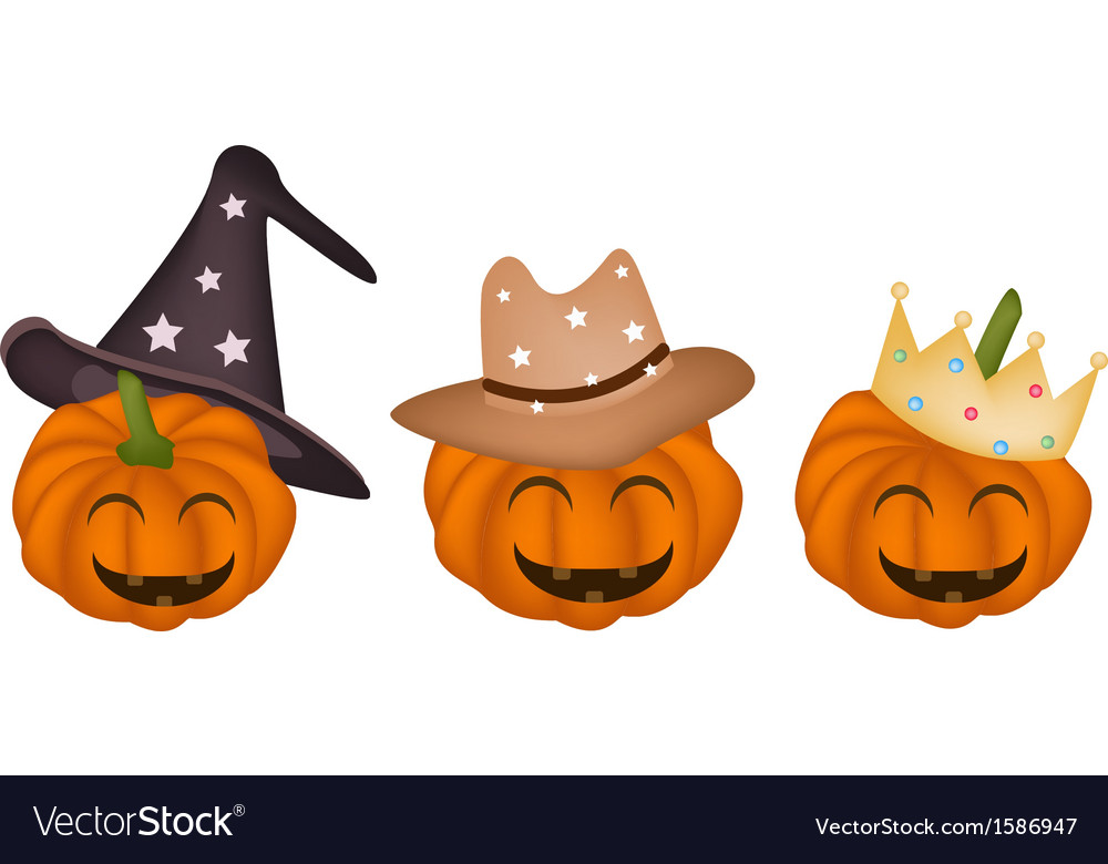 Three happy jack-o-lantern pumpkins vector | Price: 1 Credit (USD $1)