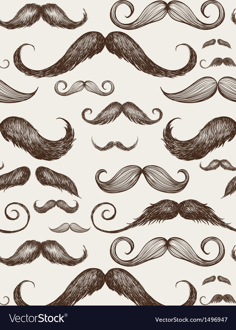 Vintage mustache seamless pattern vector | Price: 1 Credit (USD $1)