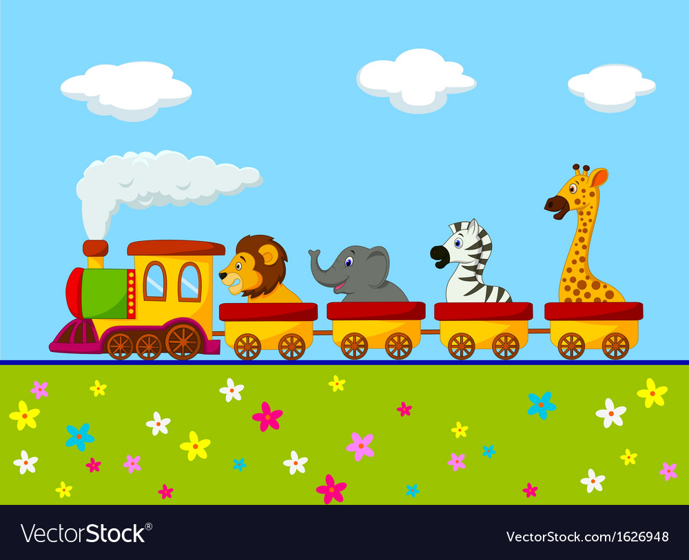 Animal train cartoon vector | Price: 1 Credit (USD $1)