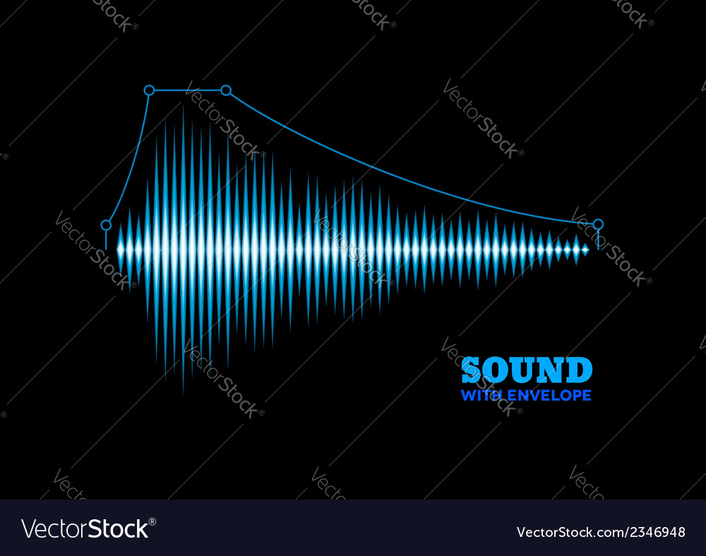 Blue shiny sound waveform with envelope vector | Price: 1 Credit (USD $1)