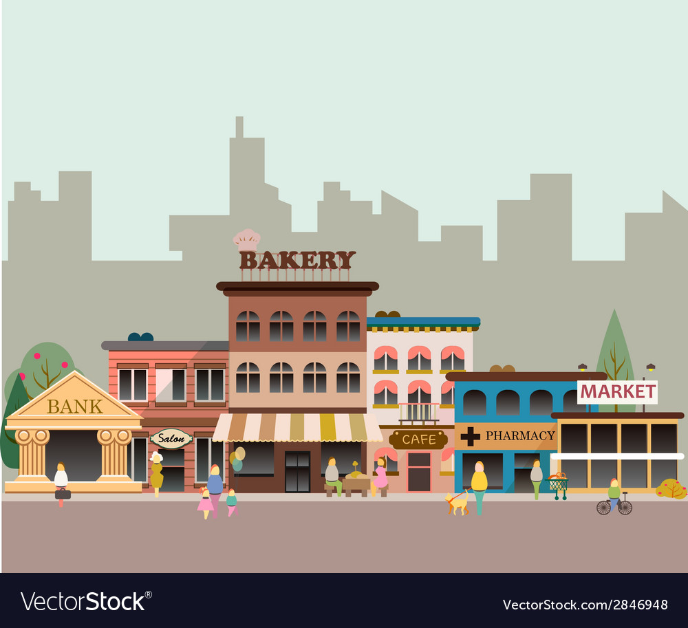 Buildings of small business vector | Price: 1 Credit (USD $1)