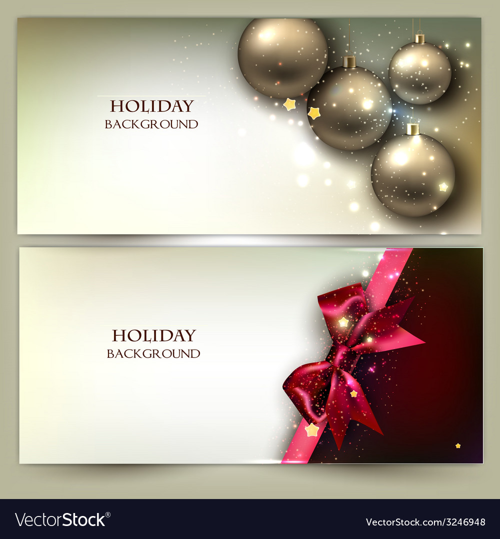 Christmas banners golden xmas baubles set vector | Price: 3 Credit (USD $3)