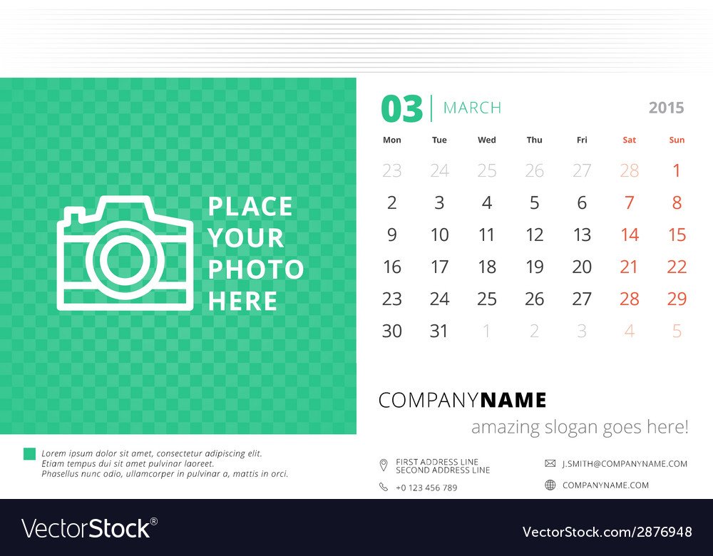 Desk calendar 2015 template week starts monday vector | Price: 1 Credit (USD $1)