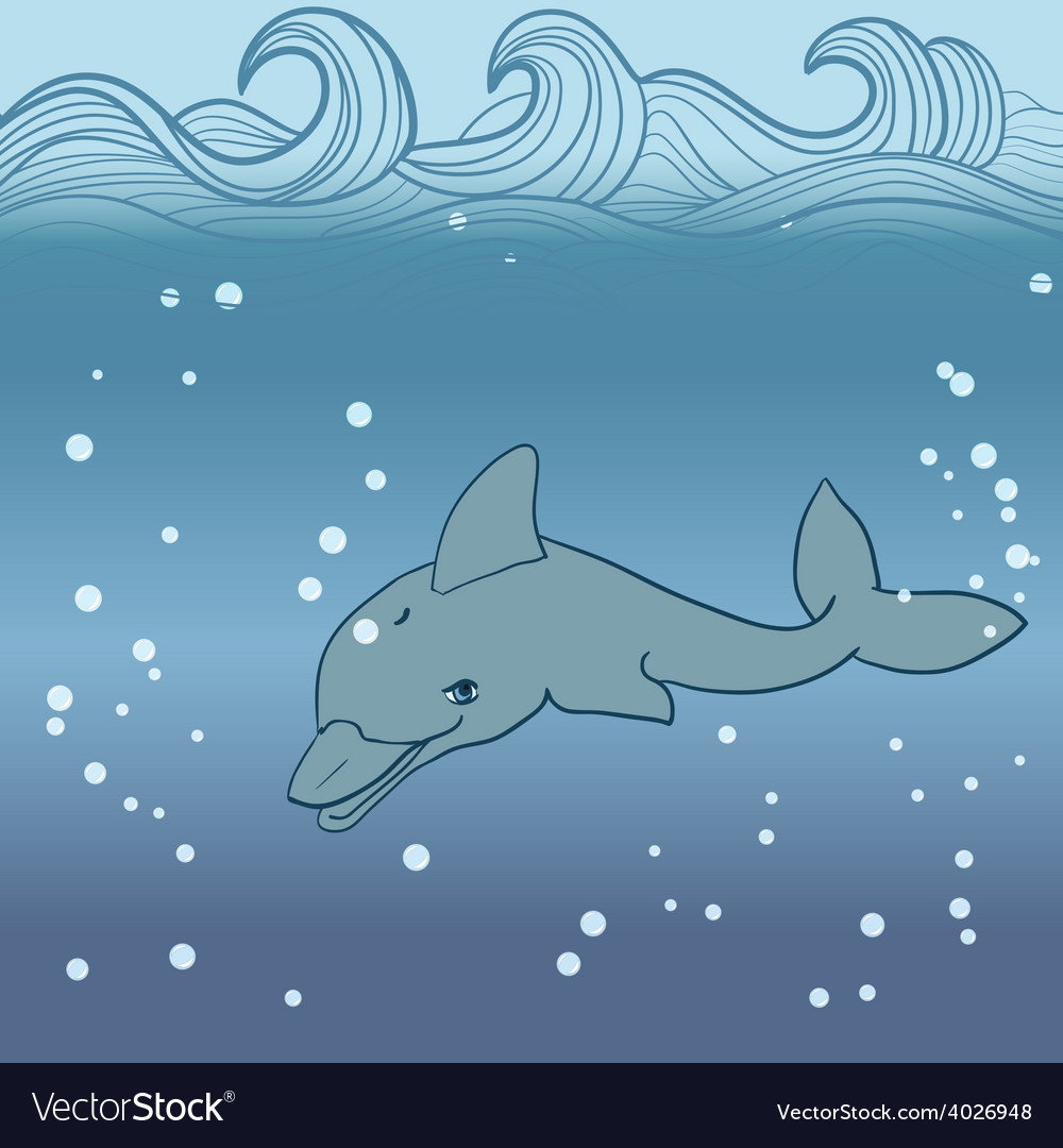 Dolphin under water vector | Price: 1 Credit (USD $1)