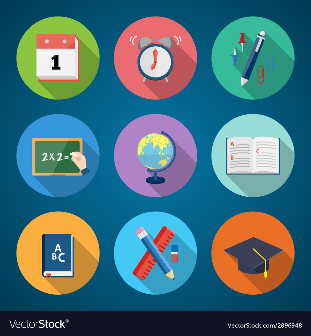 Flat style back to school stationary icon set vector   Price: 1 Credit (USD $1)