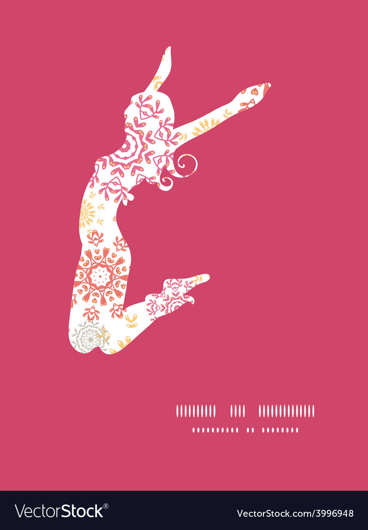 Folk floral circles abstract jumping girl vector | Price: 1 Credit (USD $1)